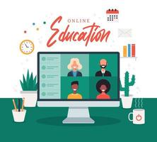 online education, e-learning, online course concept, home school vector illustration. students on laptop computer screen, distance learning, new normal, cartoon vector flat illustration
