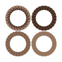 vector conjunto de marco de cuerda monocromo negro redondo. colección de círculos finos y gruesos aislados en el fondo blanco que consta de cordón trenzado. para decoración y diseño en estilo marinero.