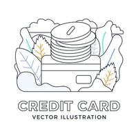 Stack of coins with a credit card vector stock illustration isolated on a white background. The concept of adding money to a bank account. The back side of the card with a stack of coins.