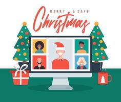 Christmas online greeting. people meeting online with family or friends video calling on pc computer virtual discussion. Merry and Safe Christmas office desk workplace, flat vector illustration