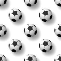 Football balls seamless patternbackground. Heap of classic black and white soccer balls. Realistic vector background