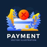 Ilustración de stock de vector de tarjeta de crédito de pago rechazado aislado sobre fondo oscuro. concepto de transacción de pago bancario fallida. el reverso de la tarjeta con la marca de cancelación es una cruz.