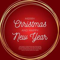 Christmas greeting Card. Retro Christmas or New Year card with abstract gold circle on red background. Vector illustration in flat style