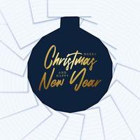 Feliz navidad y próspero año nuevo. concepto de Navidad creativo mínimo con adorno, papel y letras. ilustración vectorial vector