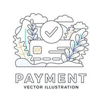 accepted payment Credit card vector stock illustration isolated on a white background. The concept of a successful bank payment transaction. The front side of the card with a check mark in a circle.