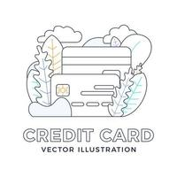 Credit card vector stock illustration isolated on white background. The concept of mobile banking and opening a bank account. Outline stylish illustration with abstract figures and leaves.