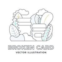 Broken Credit Card Vector stock illustration in outline style isolated on white. The concept of mobile banking and closing a bank account. Concept of losing or deleting a bank card.