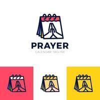 tiempo para rezar vector logo. icono de manos rezando con calendario.