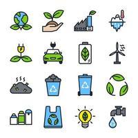 conjunto de iconos ecológicos