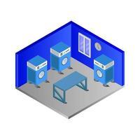 Isometric Laundry Shop or Laundry Room