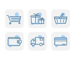 Creative blue web commerce icons design vector