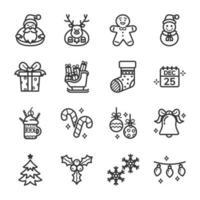 conjunto de iconos del día de navidad