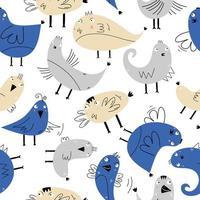 pájaro lindo de patrones sin fisuras, escandinavo dibujado a mano colores pastel. bueno para tela, fondo, papel tapiz e impresión textil. ilustración vectorial dibujo infantil estilo nórdico. colores azul y amarillo. vector