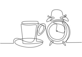 Continuous one line drawing, vector of clock alarm and coffee cup, symbol of time management, working area, and deadline. Minimalism design with simplicity hand drawn isolated on white background.