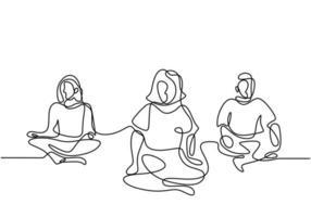 mujer haciendo ejercicio de yoga. Tres niñas sentadas con las piernas cruzadas meditando un diseño de dibujo de una línea continua aislado sobre fondo blanco. Carácter mujeres lecciones de yoga en grupo. ilustración vectorial. vector