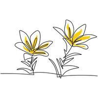 ilustraciones de línea continua hermosa flor diseño minimalista. flor decorativa para cartel. línea editable. contorno de contorno dibujado a mano ilustración vectorial de ilustraciones de plantas botánicas vector