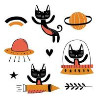 Set of cute cat illustration vector design art. Flying funny kids animal astronauts in space, with planets, stars, love. Concept for children print. Isolated objects on white background.