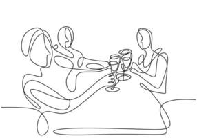 Continuous one line drawing, vector of group people cheering with glasses of wine or champagne. Man and woman in party celebration. Minimalism design with simplicity isolated on white background.