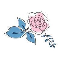 diseño rosa de una línea. dibujo de línea continua de flor rosa. hermoso signo rosa de amor aislado sobre fondo blanco. idea de tatuaje. dibujado a mano ilustración de vector de estilo minimalista