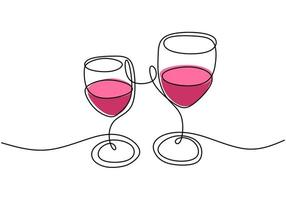Continuous one line drawing, vector of cheers, two glasses of red wine, party celebration with alcohol. Minimalism design with simplicity hand drawn isolated on white background.
