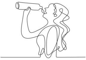 dibujo continuo de una línea, vector de mujer bebiendo agua de botella después del ejercicio deportivo. diseño minimalista con simplicidad dibujado a mano aislado sobre fondo blanco.