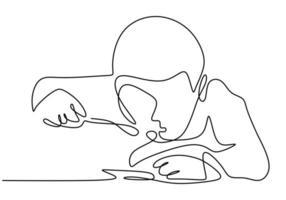 dibujo continuo de una línea, vector de niño comiendo comida. diseño minimalista con simplicidad dibujado a mano aislado sobre fondo blanco.