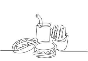 dibujo continuo de una línea, vector de comida chatarra, hamburguesa, hotdog y comida rápida. diseño minimalista con simplicidad dibujado a mano aislado sobre fondo blanco.