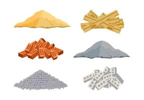 Construction material vector set collections. Pack of a pile of bricks, cement, sand, cinder blocks, wood, and stones on white background. Vector illustration for buildings.