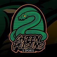 Ilustración de dibujado a mano de serpiente verde con color verde para adhesivo, papel tapiz, emblema, logotipo o camiseta. Ilustración de serpiente verde aislada sobre fondo oscuro vector