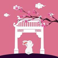 little rabbit with chinese arch and tree plant scene vector