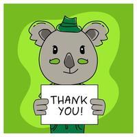 koala animal dibujado a mano con cartel de agradecimiento vector