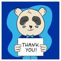 Hand drawn animal panda with thank you vector