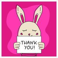 conejito animal dibujado a mano con cartel de agradecimiento vector