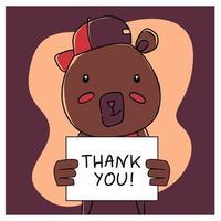oso animal dibujado a mano con cartel de agradecimiento vector