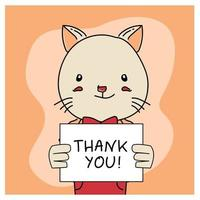 Hand drawn animal cat with thank you poster design vector