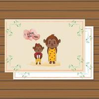 Cute card animal monkey for mother day design template vector