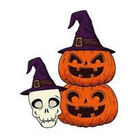 halloween pumpkins and skull with hat witch pop art style vector
