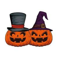 halloween pumpkins with hats witch and wizard pop art style vector
