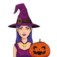 mujer joven, con, sombrero, bruja, y, calabaza, estilo, arte pop