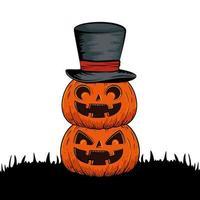 halloween pumpkins with hat wizard style pop art vector