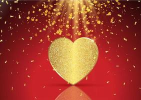 Golden hearts background for Valentines Day vector