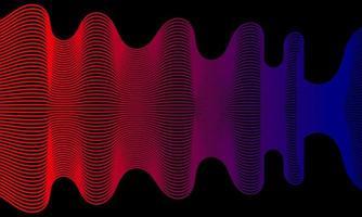 Fondo abstracto moderno con líneas onduladas en rojo y azul. vector