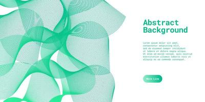 Abstract background with dynamic green wave lines vector