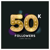 Thank you 50 thousand followers design template vector