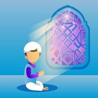 Ilustración de diseño de niño joven rezando vector