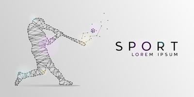 Particles geometric line art and dot of baseball sport design