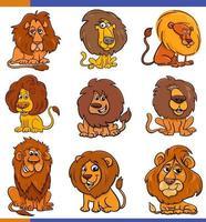 leones de dibujos animados conjunto de personajes de animales cómicos vector