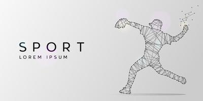 Particles geometric line art and dot of baseball player vector