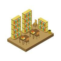 Isometric Library Room On White Background vector