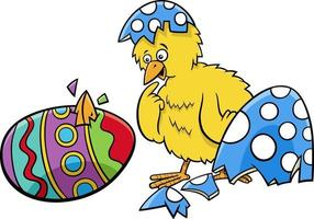 Easter chick hatched from coloered egg cartoon illustration vector